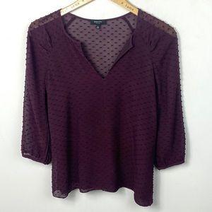 Aritzia Babaton Purple Silk Swiss Dot Blouse XS
